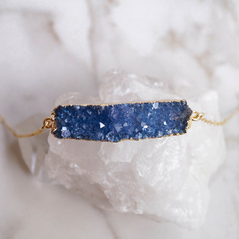 Blue Druzy Bar Necklace - Wander + Lust Jewelry  - 1