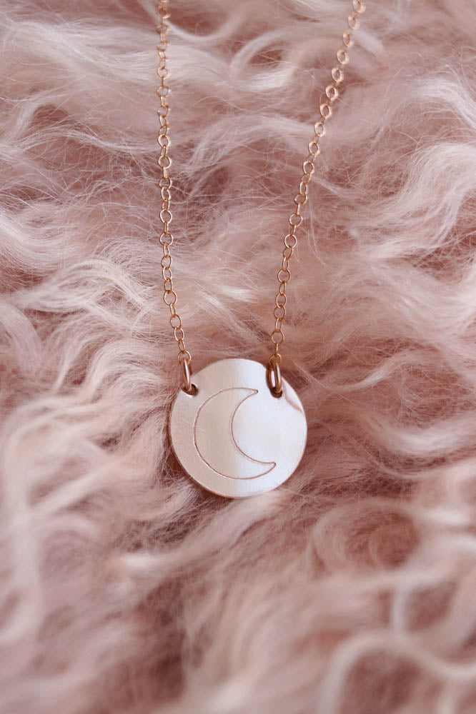 Crescent Moon Necklace, Necklace, - Wander + Lust Jewelry