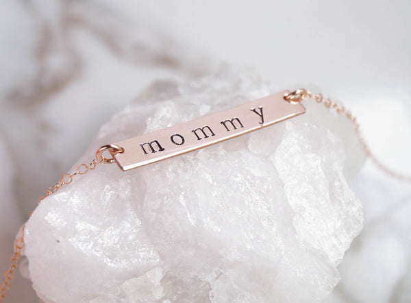 Rose Gold Personalized Bar Necklace - Wander + Lust Jewelry  - 2