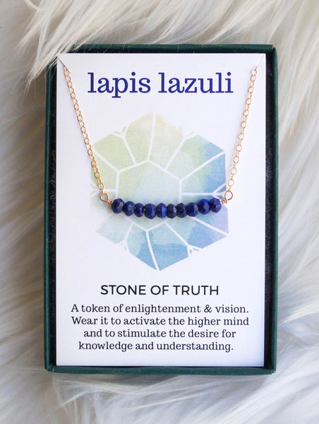 Lapis Lazuli Beaded Bar Necklace - Wander + Lust Jewelry  - 2