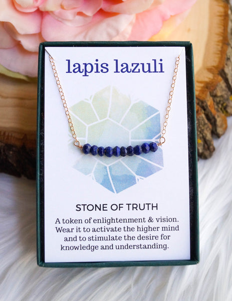 Lapis Lazuli Beaded Bar Necklace, Necklace, - Wander + Lust Jewelry