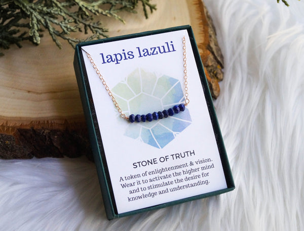Lapis Lazuli Beaded Bar Necklace - Wander + Lust Jewelry  - 4