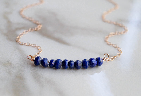 Lapis Lazuli Beaded Bar Necklace - Wander + Lust Jewelry  - 3