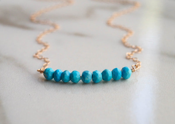 Turquoise Beaded Bar Necklace - Wander + Lust Jewelry  - 3