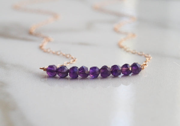 Amethyst Beaded Bar Necklace - Wander + Lust Jewelry  - 3
