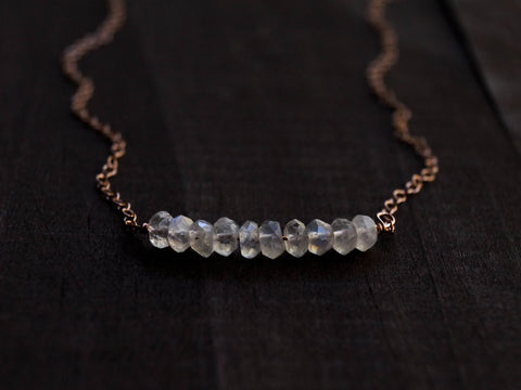 Moonstone Beaded Bar Necklace - Wander + Lust Jewelry  - 1