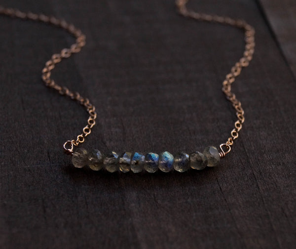 Labradorite Beaded Bar Necklace - Wander + Lust Jewelry  - 1