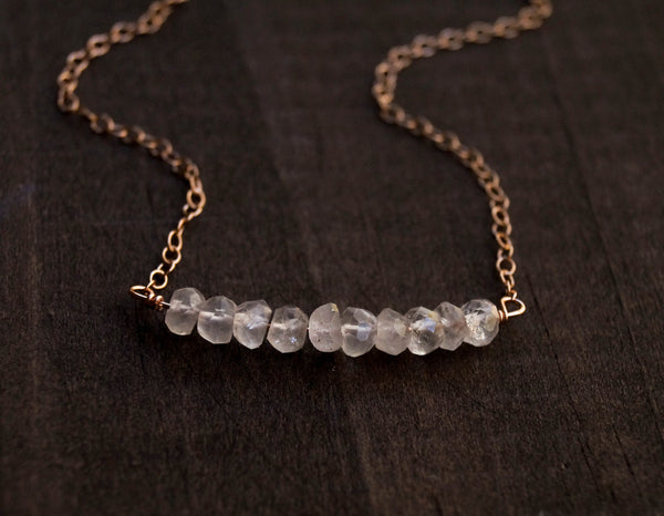 Rose Quartz Beaded Bar Necklace, Necklace, - Wander + Lust Jewelry