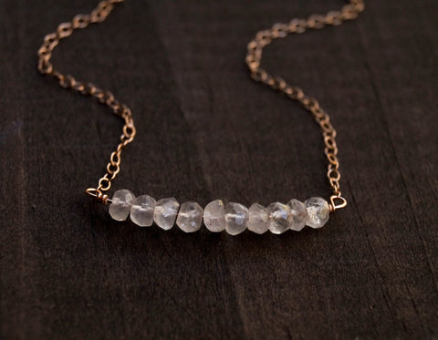 Rose Quartz Beaded Bar Necklace - Wander + Lust Jewelry  - 1