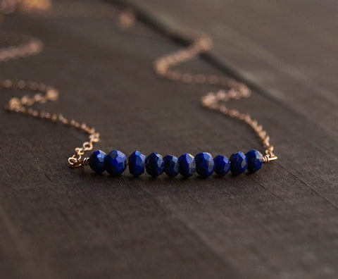 Lapis Lazuli Beaded Bar Necklace - Wander + Lust Jewelry  - 1