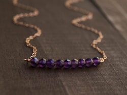 Amethyst Beaded Bar Necklace, Necklace, - Wander + Lust Jewelry