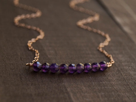Amethyst Beaded Bar Necklace - Wander + Lust Jewelry  - 1