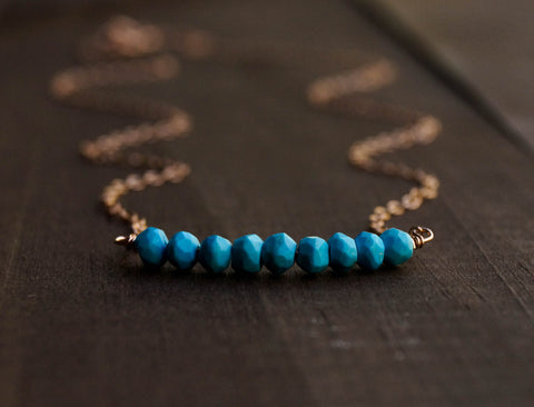 Turquoise Beaded Bar Necklace - Wander + Lust Jewelry  - 1