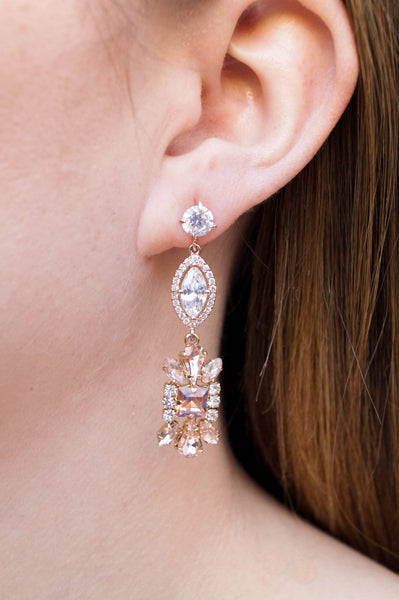 Rose Gold Wedding Earrings - Wander + Lust Jewelry  - 2
