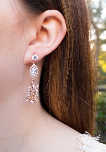Rose Gold Wedding Earrings - Wander + Lust Jewelry  - 3