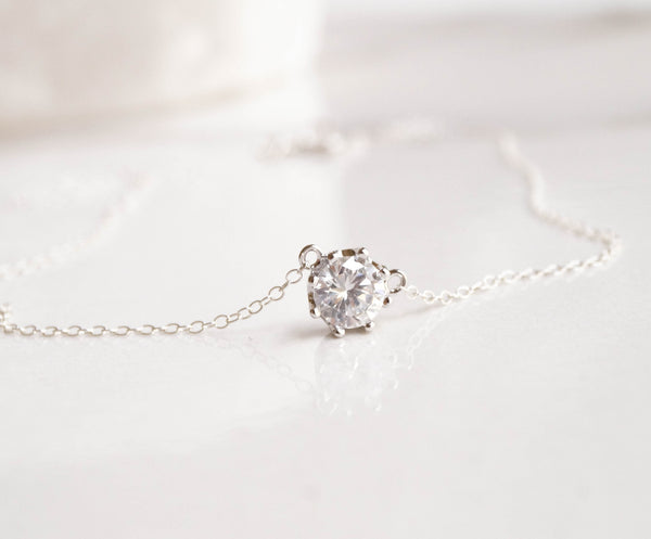 Silver Solitaire Necklace, Necklace, - Wander + Lust Jewelry