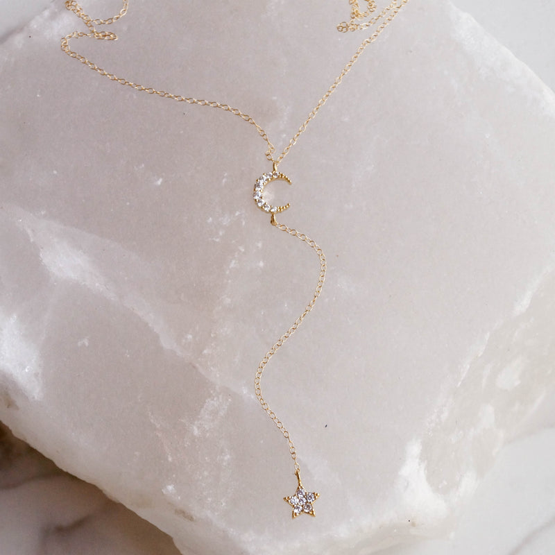 Moon and Star Y Necklace, Necklace, - Wander + Lust Jewelry