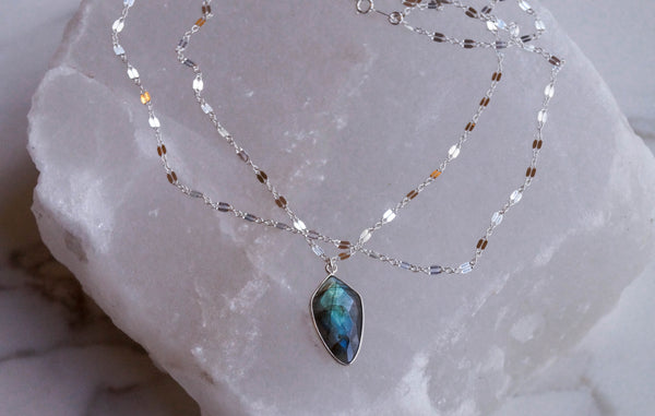 Silver Labradorite Layered Necklace - Wander + Lust Jewelry  - 2