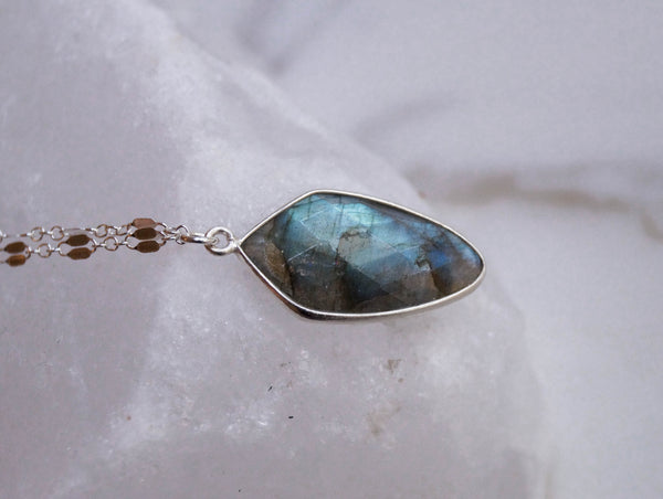 Silver Labradorite Layered Necklace, Layered Necklace, - Wander + Lust Jewelry