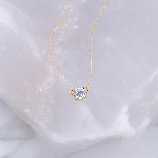 Gold Solitaire Necklace - Wander + Lust Jewelry  - 2
