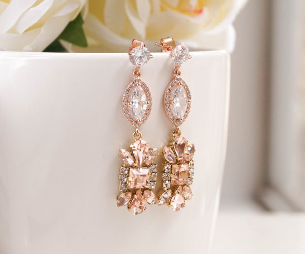 Rose Gold Wedding Earrings - Wander + Lust Jewelry  - 1