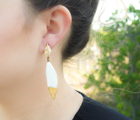 Nora Feather Drop Earrings