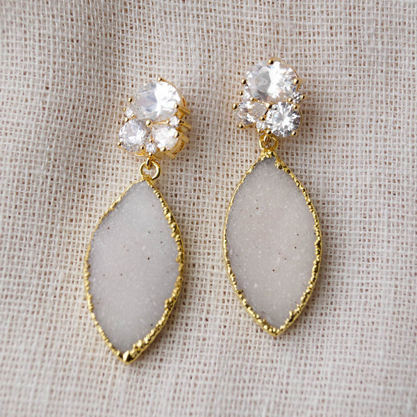 MEGHAN Marquise Bridal Earrings, Earrings, - Wander + Lust Jewelry