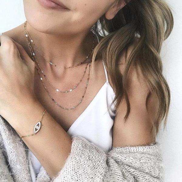 Dainty Triple Layer Necklace, Layered Necklace, - Wander + Lust Jewelry