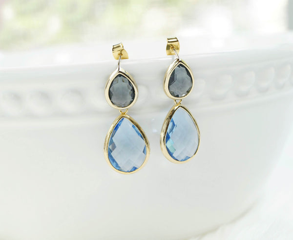 Sky Blue and Gray Earrings, Earrings, - Wander + Lust Jewelry