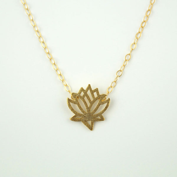 Tiny Lotus Flower Necklace, Necklace, - Wander + Lust Jewelry