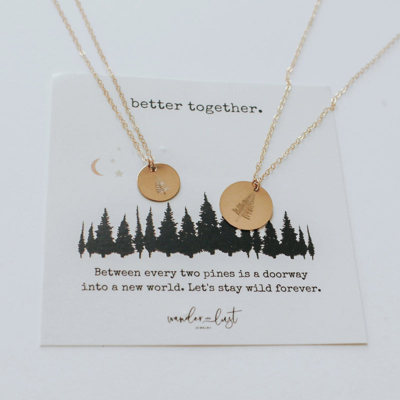 Better Together Pine Tree Necklace, Necklace, - Wander + Lust Jewelry
