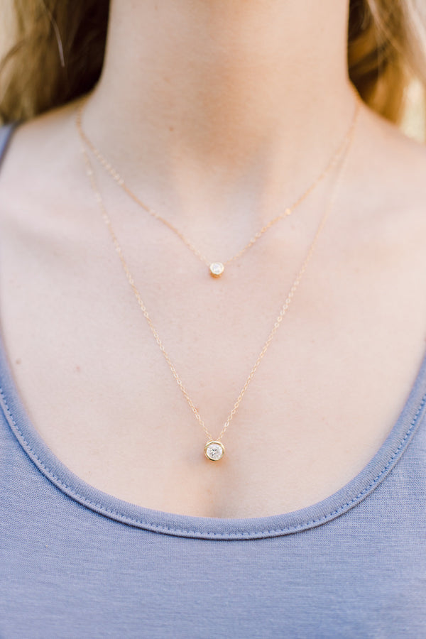 CZ Gold Layered Necklace Set, Layered Necklace, - Wander + Lust Jewelry