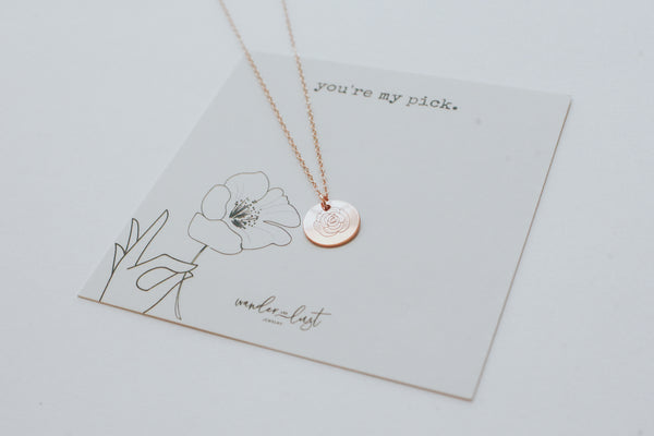 You're My Pick Rose Necklace, Necklace, - Wander + Lust Jewelry