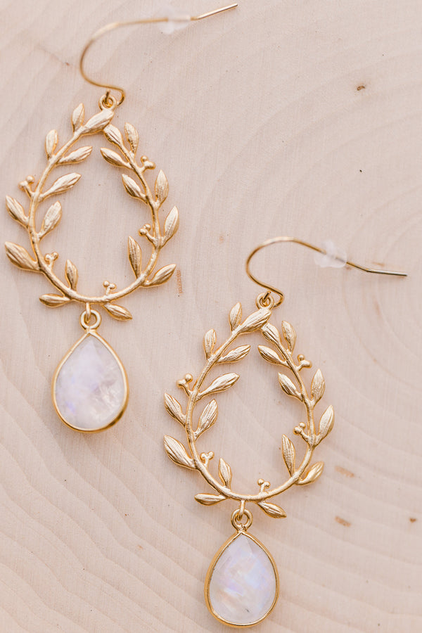Laurel Wreath Moonstone Earrings, Earrings, - Wander + Lust Jewelry