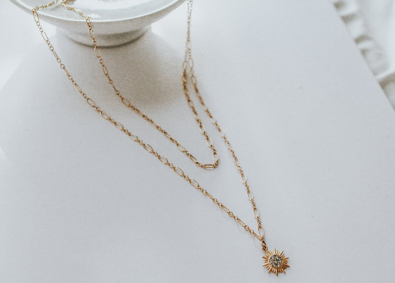 Sunburst Layered Necklace, Layered Necklace, - Wander + Lust Jewelry