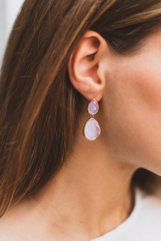 Pink Drop Earrings, Earrings, - Wander + Lust Jewelry