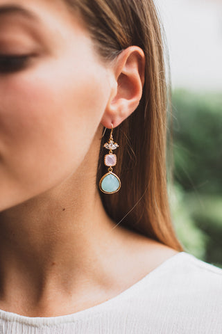 Rose Quartz and Serenity Drop Earrings, Earrings, - Wander + Lust Jewelry