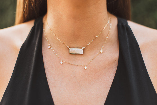Light Druzy Bar Necklace, Necklace, - Wander + Lust Jewelry