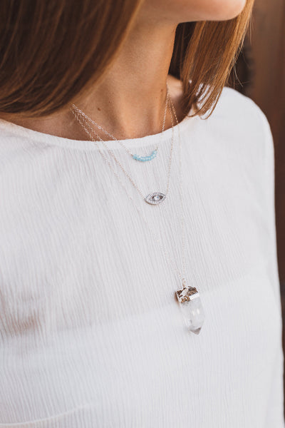 Sky Blue Chalcedony Bar Necklace, Necklace, - Wander + Lust Jewelry