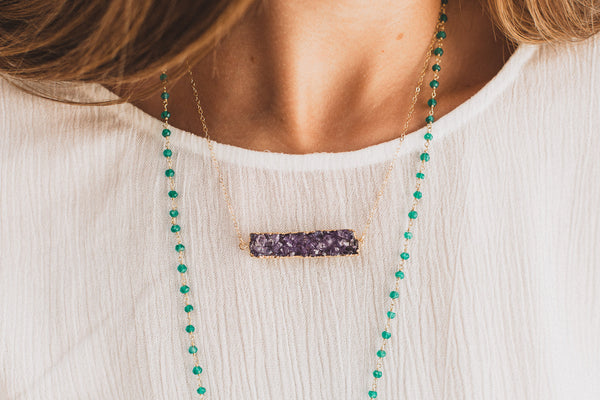 Purple Druzy Bar Necklace, Necklace, - Wander + Lust Jewelry