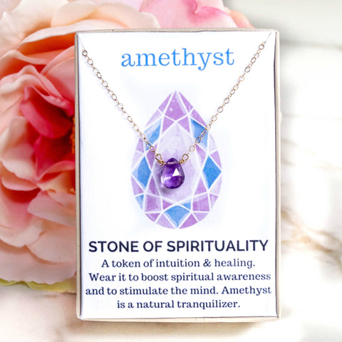 Amethyst Healing Jewel Necklace, Necklace, - Wander + Lust Jewelry