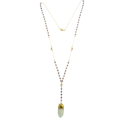 Amethyst Rosary Necklace, Necklace, - Wander + Lust Jewelry