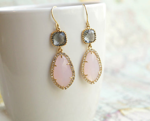 Pink and Gray Earrings, Earrings, - Wander + Lust Jewelry