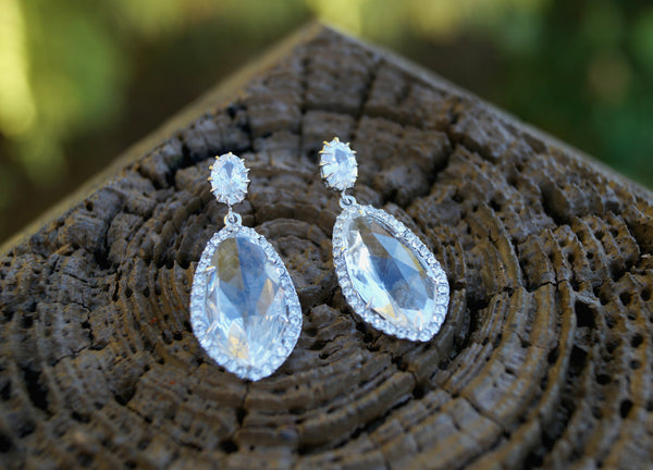 Crystal Silver Earrings, Earrings, - Wander + Lust Jewelry