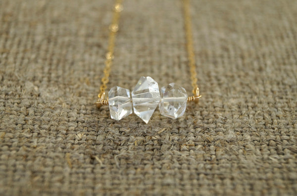 Herkimer Diamond Crystal Necklace, Necklace, - Wander + Lust Jewelry