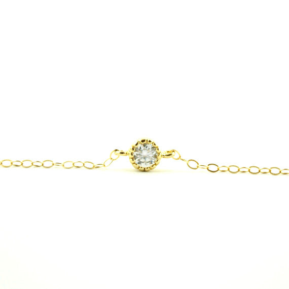 Dainty CZ Bracelet in 14K Gold Fill or Sterling Silver, Bracelet, - Wander + Lust Jewelry