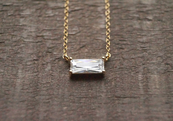 Emerald Cut CZ Necklace, Necklace, - Wander + Lust Jewelry