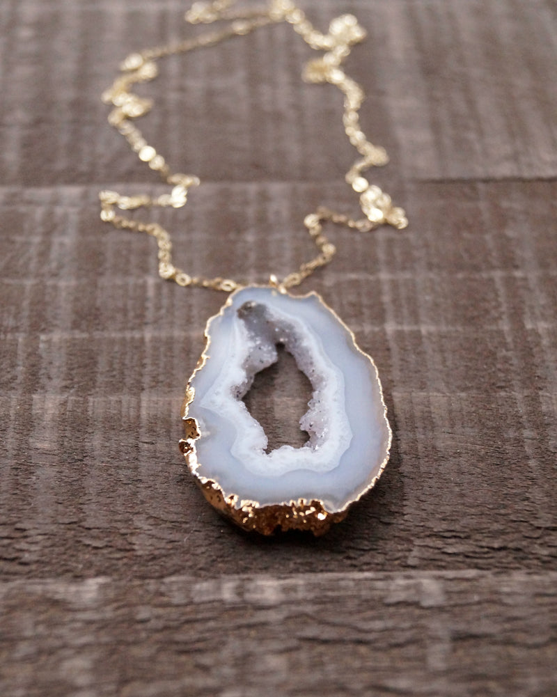 Agate Slice Necklace, Necklace, - Wander + Lust Jewelry