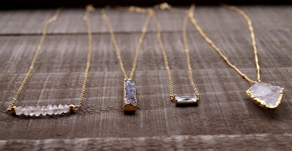 Long Druzy Necklace, Necklace, - Wander + Lust Jewelry