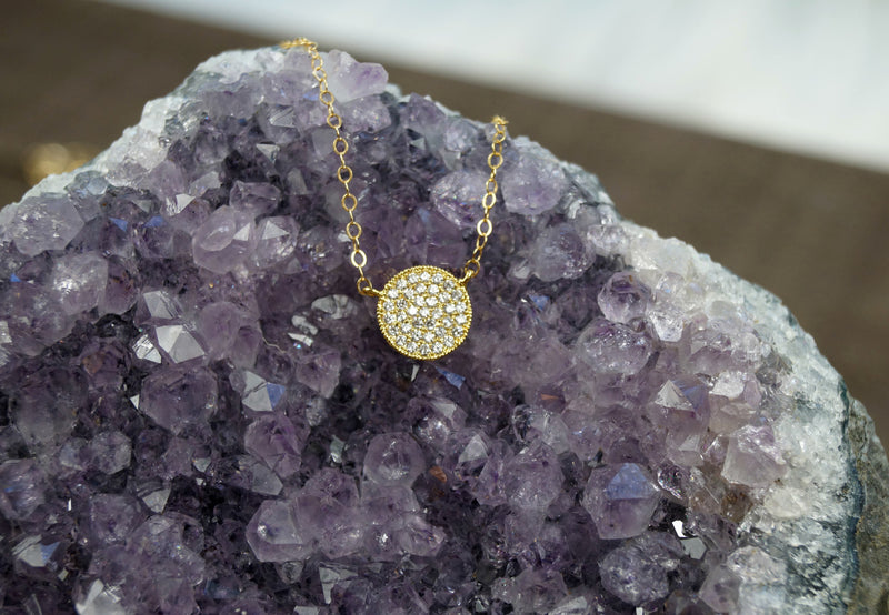 CZ Circle Necklace, Necklace, - Wander + Lust Jewelry
